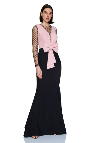 New powder pink crepe long sleeve maxi dress