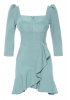 Mint green crepe 3/4 sleeve mini dress