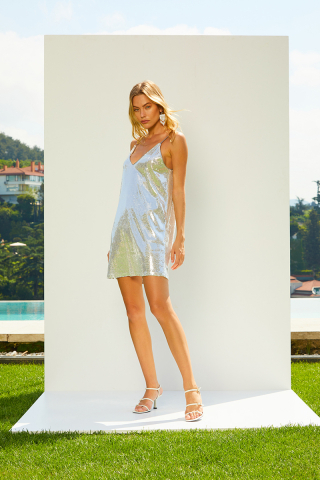 Silver sequined sleeveless mini dress