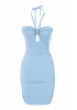 Blue crepe sleeveless mini dress