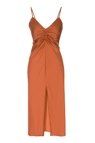 satin sleeveless maxi dress
