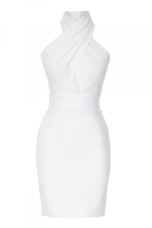 White crepe sleeveless mini dress