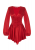 Red satin long sleeve mini dress