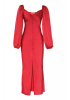 Red satin long sleeve maxi dress