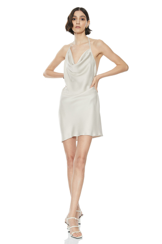 Beige crepe sleeveless mini dress