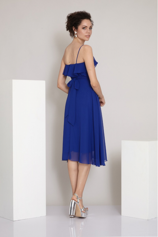 Sax chiffon sleeveless midi dress