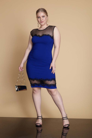 Sax plus size crepe sleeveless mini dress
