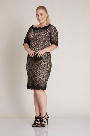 Powder plus size lace short sleeve midi dress
