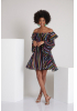 Print d71 chiffon long sleeve midi dress