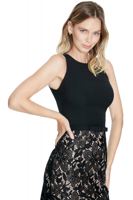Black lace sleeveless midi dress