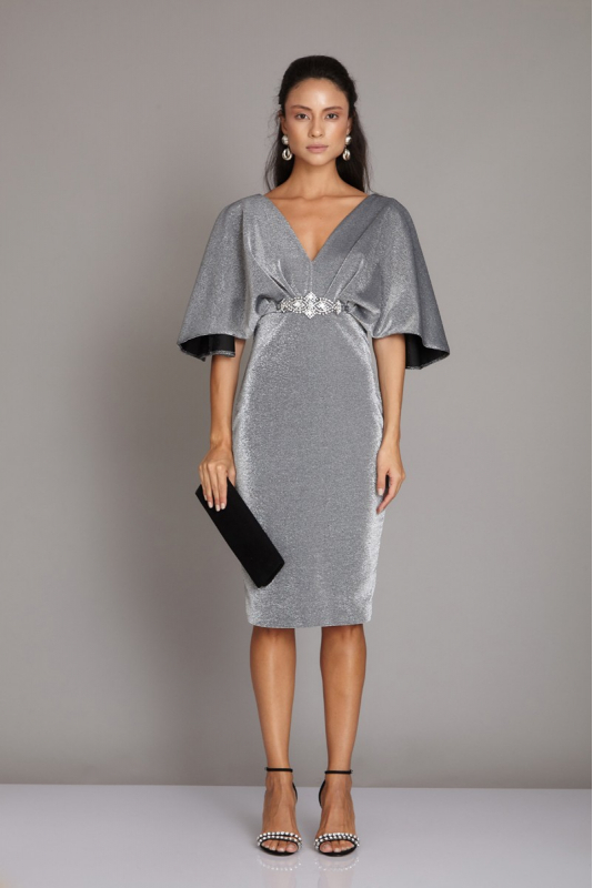 Silver knitted short sleeve midi dress