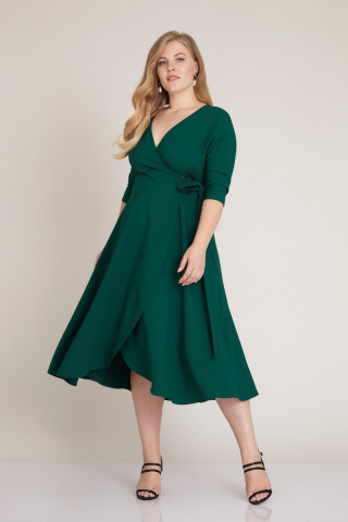 Green plus size 3/4 sleeve midi dress