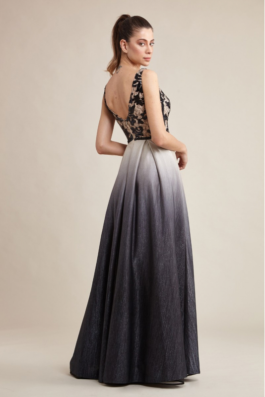 Silver leaf 080 knitted sleeveless maxi dress