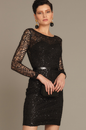 Black lace long sleeve midi dress