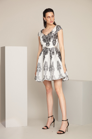 Silver jacquard 11 sleeveless mini dress