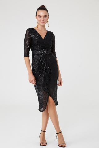 Black sequined sleeveless midi dress
