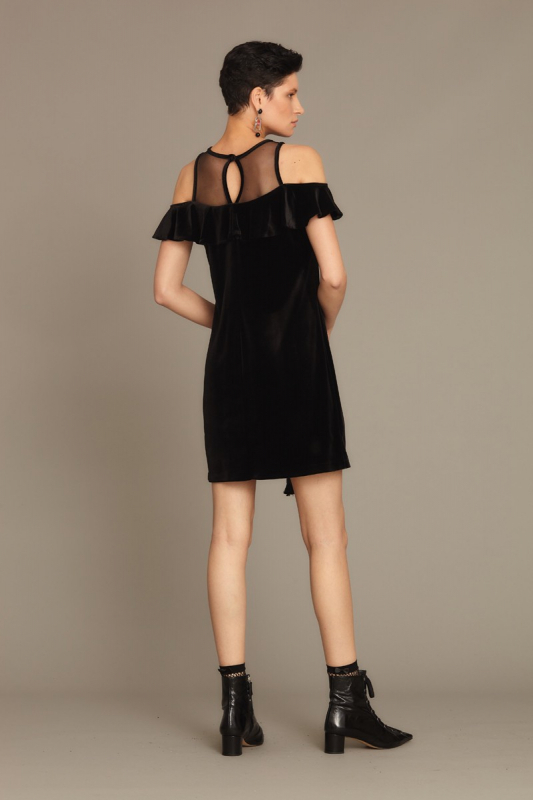 Black velvet short sleeve mini dress