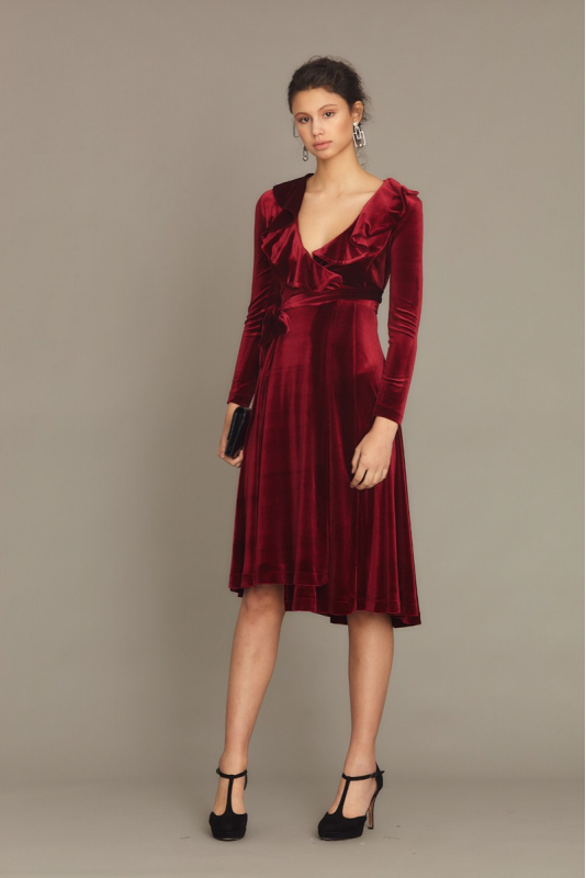 Claret red velvet long sleeve midi dress