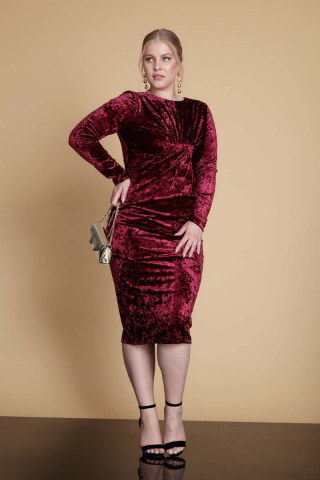 Claret red plus size velvet long sleeve midi dress