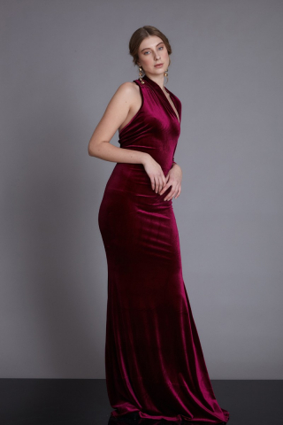 Claret red velvet single sleeve maxi dress