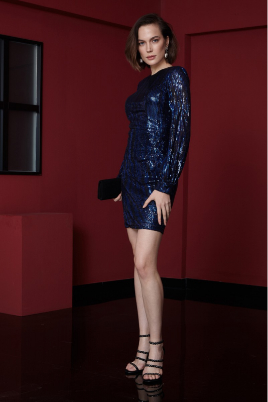 Sax sequined long sleeve mini dress