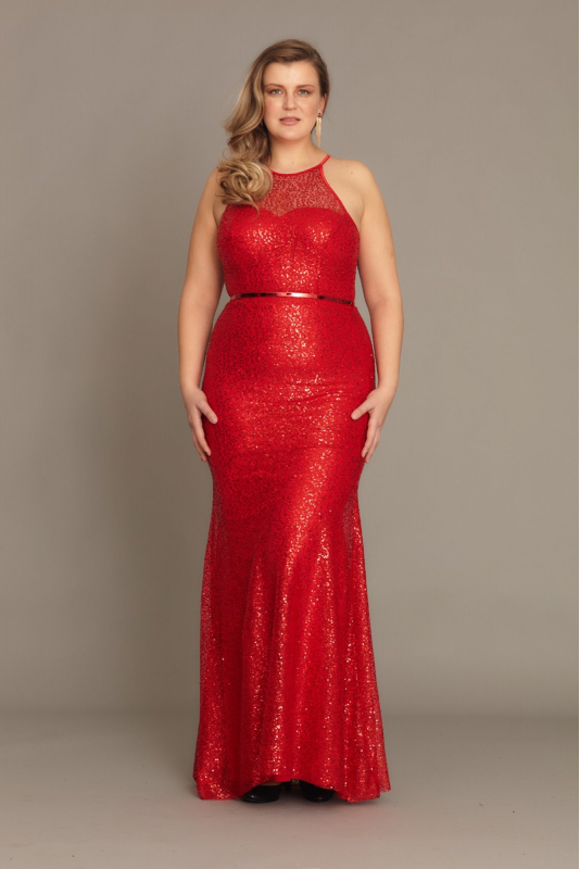 Red plus size sequined sleeveless maxi dress