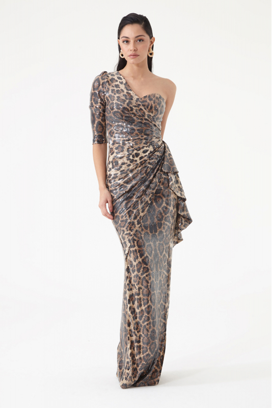 Leopard sequined single sleeve maxi dress