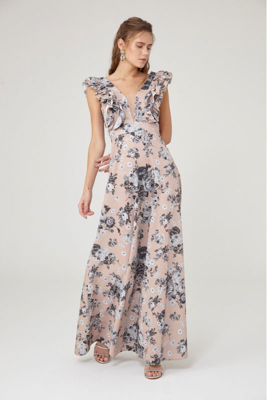 Print y10 knitted sleeveless maxi dress