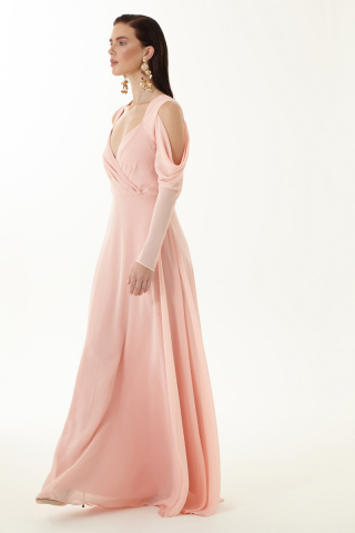 Powder chiffon long sleeve maxi dress